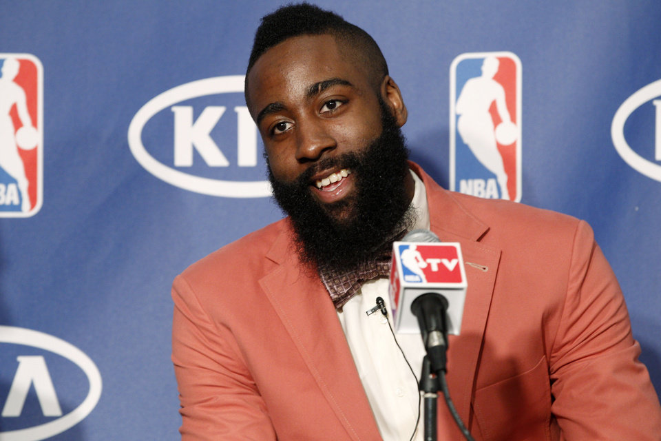 Oklahoma City Thunder�s James Harden smiles during a basketball news conference in Oklahoma City, Thursday, May 10, 2012. Harden was named the NBA's Sixth Man of the Year after leading all bench players in scoring this season by averaging 16.8 points on a career-best 49 percent. (AP Photo/Sue Ogrocki)