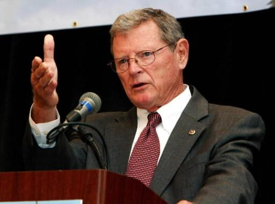 Photo - U.S. Senate candidate Republican  Jim  Inhofe speaks at a State Chamber luncheon at the Crowne Plaza in Tulsa, Okla., on Tuesday, Oct. 14, 2008. (AP Photo/Tulsa World, James Gibbard)