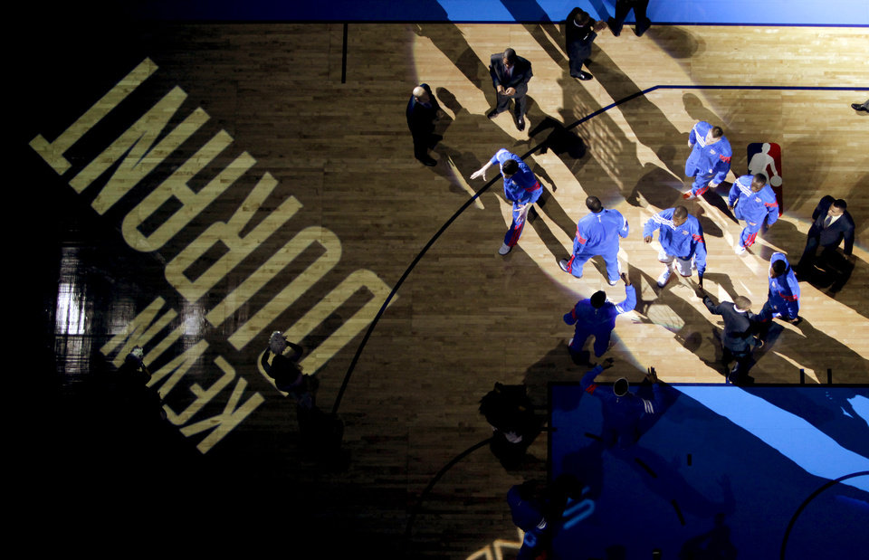 Photo - Oklahoma City's Kevin Durant is introduced to the crowd before the NBA basketball game between the Oklahoma City Thunder and the Cleveland Cavaliers at Chesapeake Energy Arena in Oklahoma City, Friday, March 9, 2012. Photo by Bryan Terry, The Oklahoman