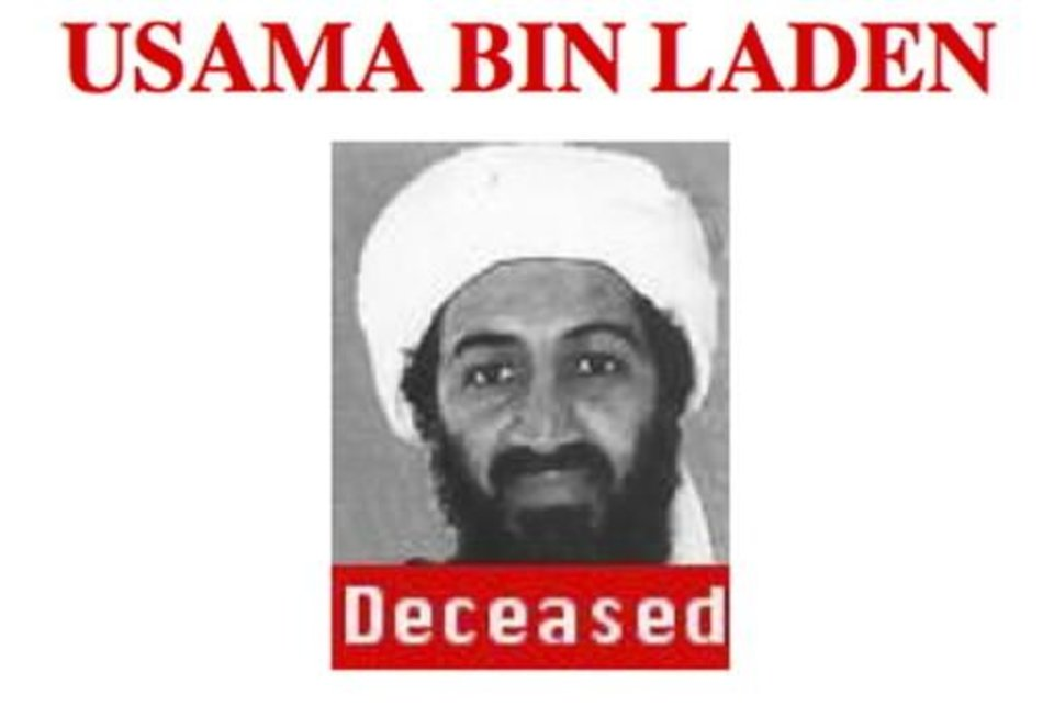 Photo - This photo of a section of a poster taken from the FBI website shows Osama bin Laden. Bin Laden, the face of global terrorism and mastermind of the Sept. 11, 2001 attacks, was tracked down and shot to death, Monday, May 2, 2011, in Pakistan by an elite team of U.S. forces, ending an unrelenting manhunt that spanned a frustrating decade. (AP Photo/FBI)