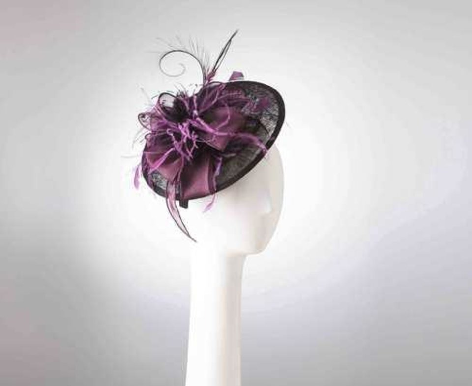 Photo - Fascinator with silk organza and feather trim by Jill Courtemanche. [Photo Provided]