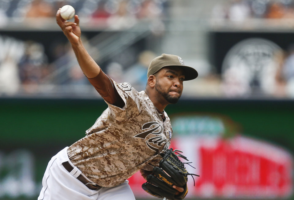Photo - San Diego Padres starting pitcher Odrisamer Despaigne releases a pitch against the Arizona Diamondbacks during the first inning of a baseball game  Sunday, June 29, 2014, in San Diego.  (AP Photo/Lenny Ignelzi)