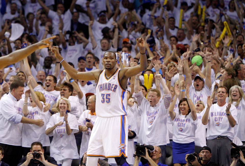 Oklahoma City\'s Kevin Durant (35) reacts during Game 6 of the Western Conference Finals between the Oklahoma City Thunder and the San Antonio Spurs in the NBA playoffs at the Chesapeake Energy Arena in Oklahoma City, Wednesday, June 6, 2012. Oklahoma City won 107-99. Photo by Bryan Terry, The Oklahoman