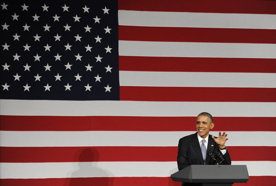 Photo - President Barack Obama speaks at a Democratic National Committee reception in San Jose, Calif., Thursday, May 8, 2014. Obama is spending three days in California raising money for the Democratic party. (AP Photo/Susan Walsh)