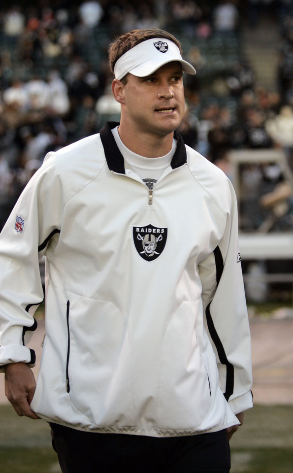 Photo - Oakland Raiders head coach Lane Kiffin walks off the field after their NFL football game against the Chicago Bears in Oakland, Calif., Sunday, Nov. 11, 2007. The Bears defeated the Raiders 17-6. (AP Photo/Paul Sakuma) ORG XMIT: CAPS112