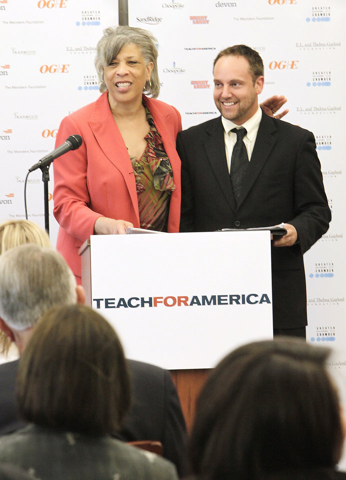 Chairperson Oklahoma City Public School Board of Education Angela Monson and Executive Director Teach For America Lance Tackett announce that  Teach for America  is coming to Oklahoma City at press conference at U.S. Grant High School, Wednesday, May 11, 2011.       Photo by David McDaniel, The Oklahoman