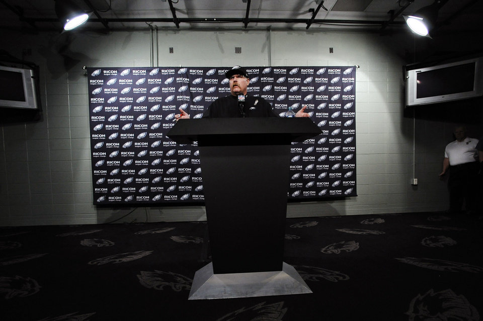 Philadelphia Eagles head coach Andy Reid speaks at a news conference following their 38-23 loss to the Dallas Cowboys in an NFL football game, Sunday, Nov. 11, 2012, in Philadelphia. (AP Photo/Michael Perez)