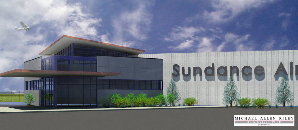 An architect�s drawing of Sundance Airport, formerly Sundance Airpark. The facility was recently purchased by Jerry Hunter, CEO of US Fleet Tracking. DRAWING PROVIDED BY SUNDANCE AIRPORT