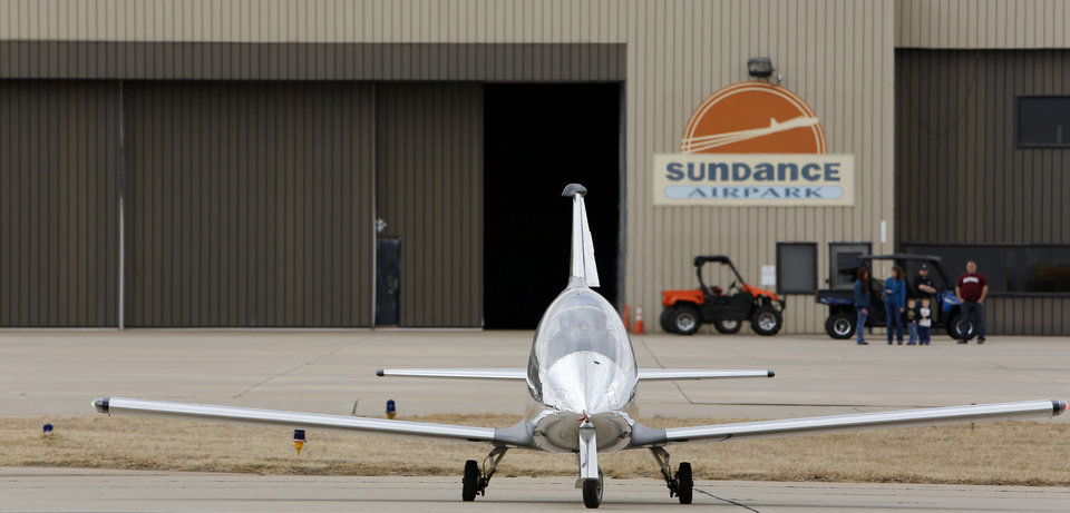 "Justin ""Shmed"" Lewis taxies his Lewis & Clark Performance, LLC, Microjet at Sundance Airport in northwest Oklahoma City. Photo by Steve Gooch, The Oklahoman <strong>Steve Gooch</strong>"