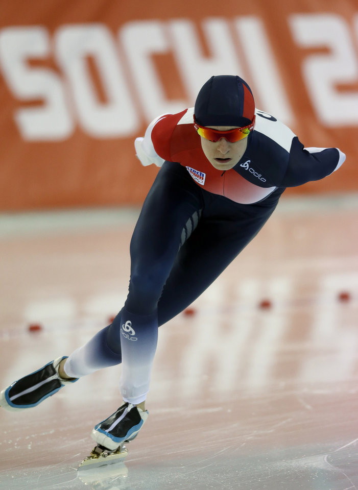 Photo - Martina Sablikova of the Czech Republic competes in the women's 3,000-meter speedskating competition at the 2014 Winter Olympics, Sunday, Feb. 9, 2014, in Sochi, Russia. (AP Photo/David J. Phillip )