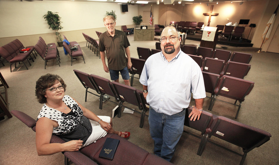 Photo - Nicoma Park Christian Church leaders Jennifer Crowel, Thomas McMillan and the Rev. Chris Muse are shown in the church building. Photo by David McDaniel, The Oklahoman
