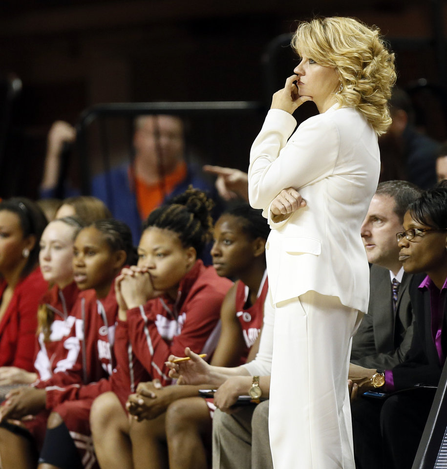 Photo - Oklahoma head coach Sherri Coale and the OU bench watch the court late in the second half of the Bedlam women's college basketball game between Oklahoma State University and the University of Oklahoma at Gallagher-Iba Arena in Stillwater, Okla., Saturday, Feb. 23, 2013. OSU beat OU, 83-62. Photo by Nate Billings, The Oklahoman