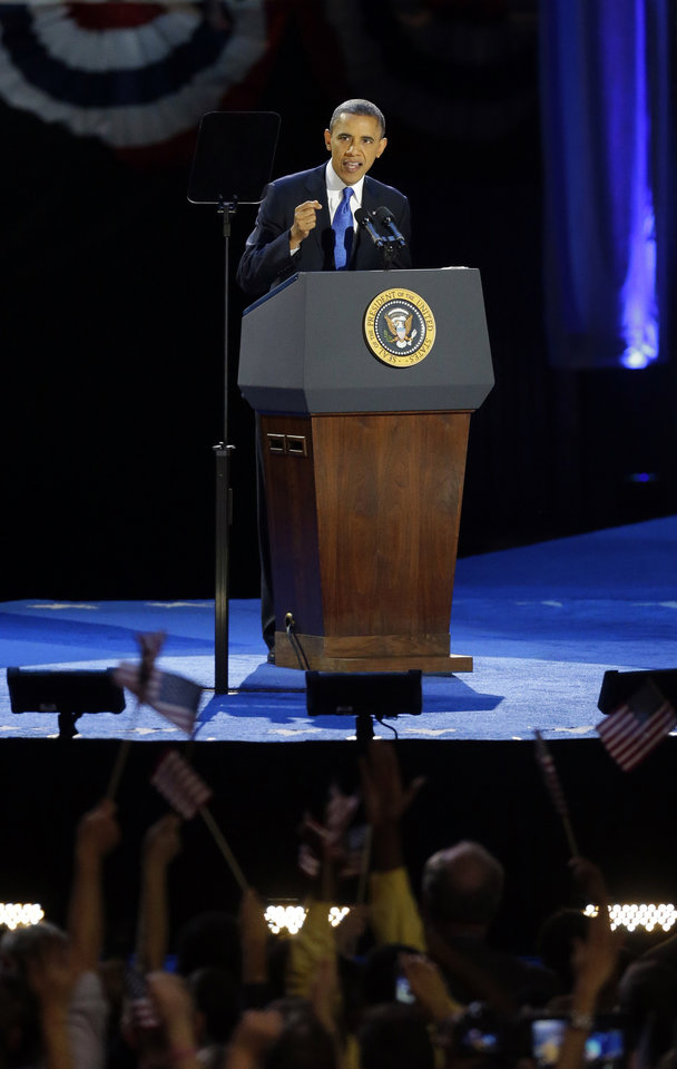 President Barack Obama speaks at his election night party Wednesday, Nov. 7, 2012, in Chicago. President Obama defeated Republican challenger former Massachusetts Gov. Mitt Romney. (AP Photo/Pablo Martinez Monsivais)