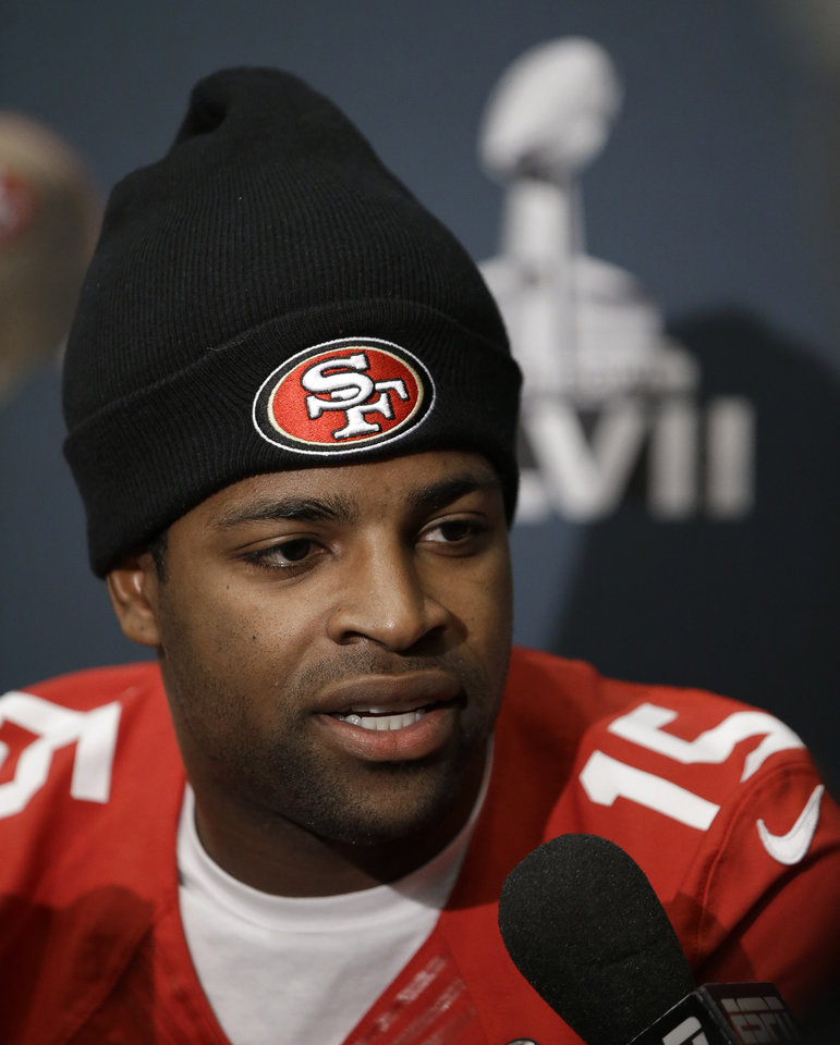San Francisco 49ers wide receiver Michael Crabtree talks with reporters during a news conference on Wednesday, Jan. 30, 2013, in New Orleans. The 49ers are scheduled to play the Baltimore Ravens in the NFL Super Bowl XLVII football game on Feb. 3. (AP Photo/Mark Humphrey)