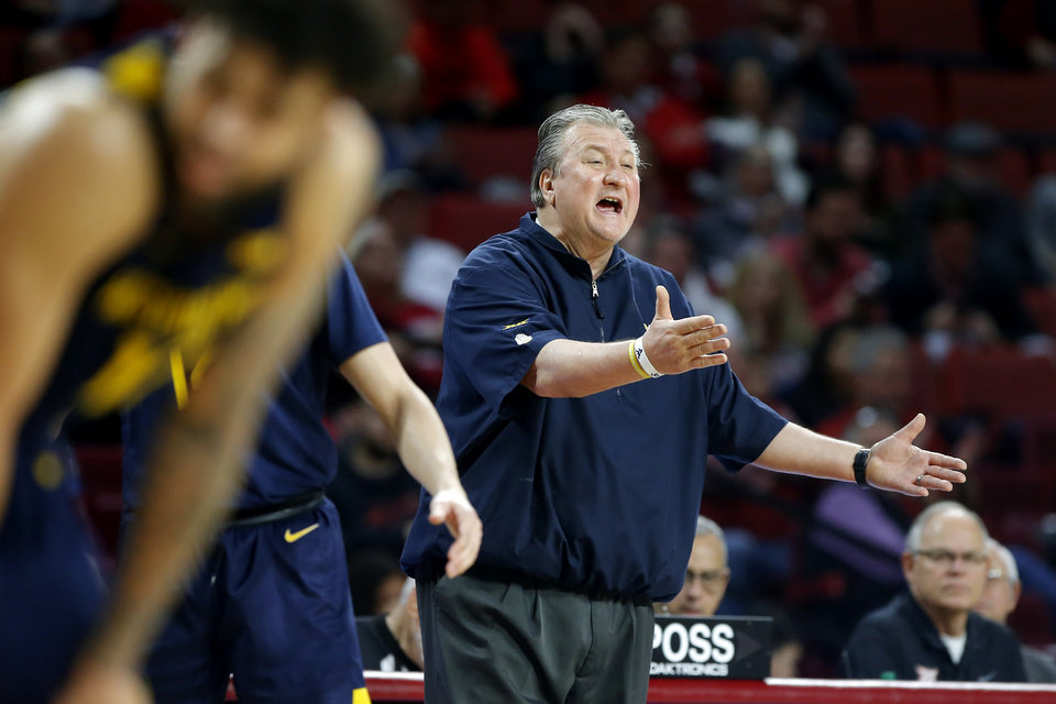 Photo - West Virginia coach Bob Huggins shouts during an NCAA mens college basketball game between the University of Oklahoma Sooners (OU) and the West Virginia Mountaineers at the Lloyd Noble Center in Norman, Okla.,Saturday, Feb. 8, 2020. Oklahoma won 69-59. [Bryan Terry/The Oklahoman]
