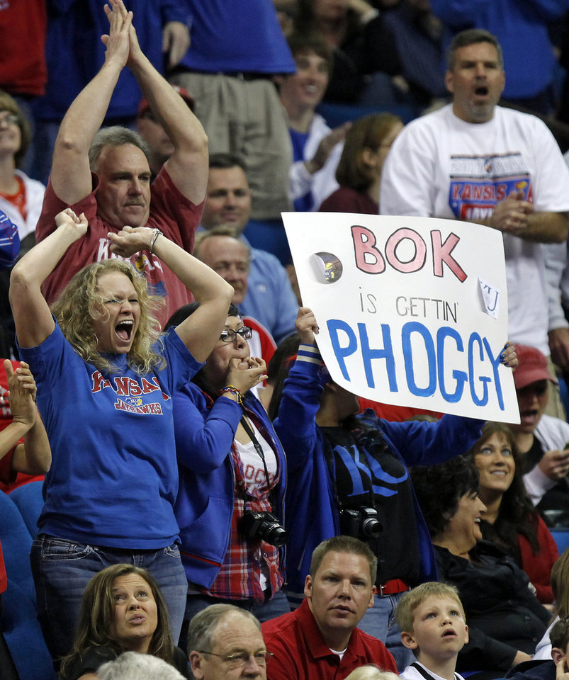 Photo - Kansas fans cheer in the second half during the NCAA men's basketball tournament second round game between Boston and Kansas at the BOK Center in Tulsa, Okla., Friday, March 18, 2011. Kansas won, 72-53. Photo by Nate Billings, The Oklahoman