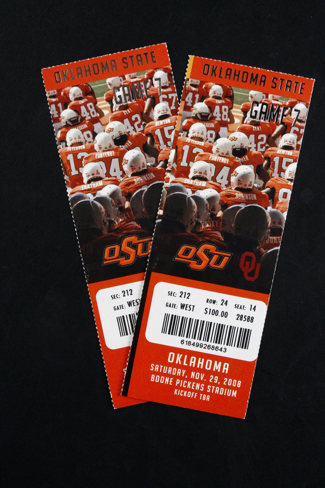 UNIVERSITY OF OKLAHOMA / OKLAHOMA STATE UNIVERSITY / OU / OSU: Tickets to the Bedlam college football game in Stillwater Nov. 29. Monday, Nov. 24, 2008. BY DOUG HOKE, THE OKLAHOMAN. ORG XMIT: KOD
