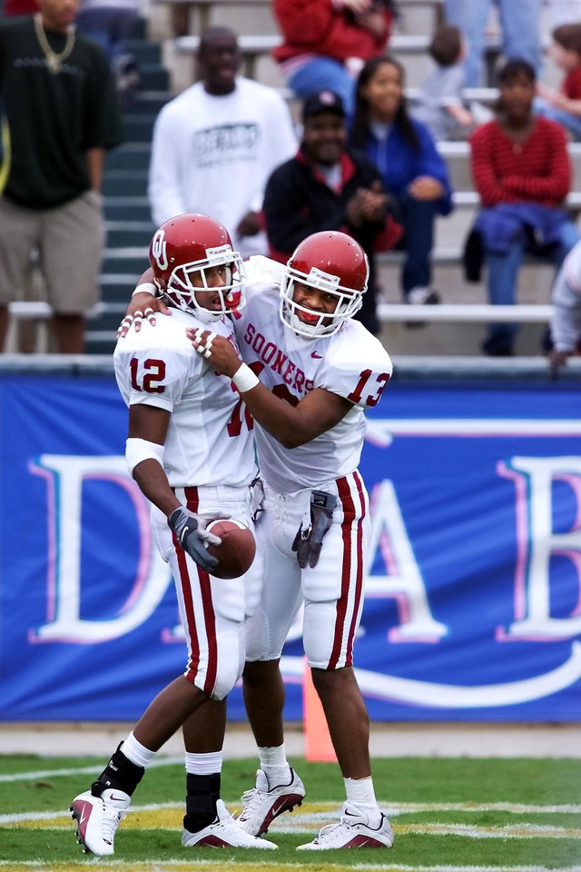 Damian Mackey, right, congratulates Curtis Fagan after a touchdown against Baylor. PHOTO BY STEVE SISNEY, THE OKLAHOMAN ARCHIVE