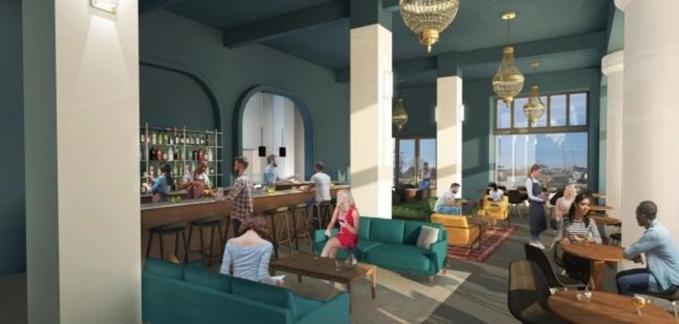 Photo -  The Lobby at the Pioneer, a restaurant and bar, will anchor the first floor of the Pioneer Building, where windows were enclosed with marble for decades until a reccent restoration. Rendering by Gardner  Architects.