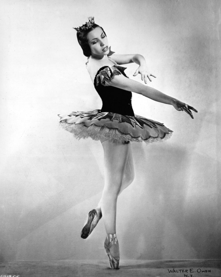 BALLERINAS: Studio photo of Oklahoma Indian ballerina Maria Tallchief taken by New York City photographer Walter E. Owen for the Ballet Russe de Monte Carlo.    Photo bears OPUBCO Library date of 1/16/46; photo may have been taken in 1945.