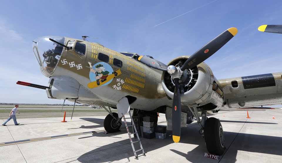 A B-17 Flying Fortress on display at Wiley Post Airport in Oklahoma City , Friday April 5, 2013.The Wings of Freedom National Tour will be on display all weekend at Wiley Post Airport. Photo By Steve Gooch, The Oklahoman