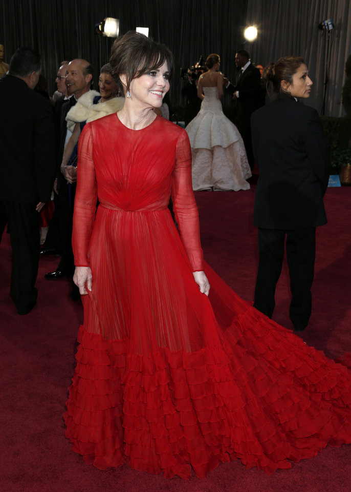 Actress Sally Field arrives at the Oscars at the Dolby Theatre on Sunday Feb. 24, 2013, in Los Angeles. (Photo by Todd Williamson/Invision/AP) ORG XMIT: CAWH216