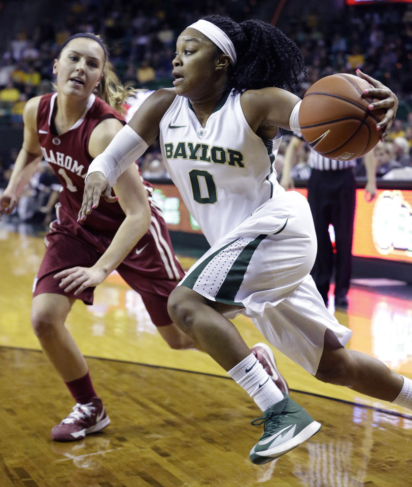 Photo - Baylor guard Odyssey Sims (0) drives past Oklahoma guard Nicole Kornet (1) during the first half of an NCAA college basketball game, Monday, Feb. 24, 2014, in Waco, Texas. (AP Photo/LM Otero)