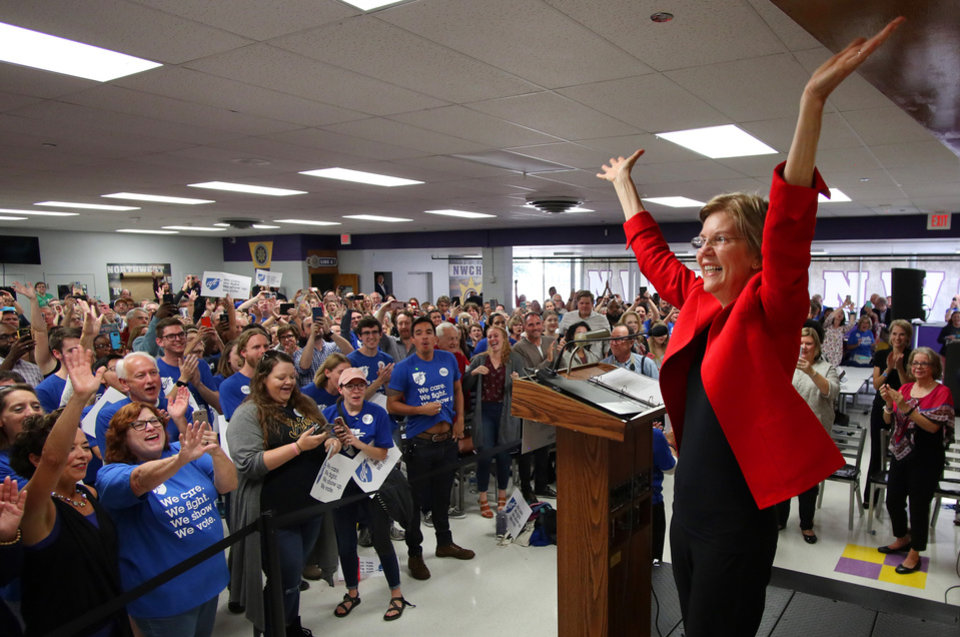 Photo -  U.S. Sen. Elizabeth Warren, D-Mass., who is a Class of '66 Northwest Classen alumna, is the main speaker Saturday at the American Federation of Teachers rally in the school's cafeteria. [Photo by Doug Hoke, The Oklahoman]
