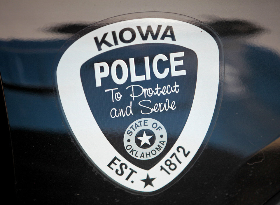 Photo - The emblem on the door of a Kiowa Police Department car is shown. Photo by David McDaniel, The Oklahoman  David McDaniel