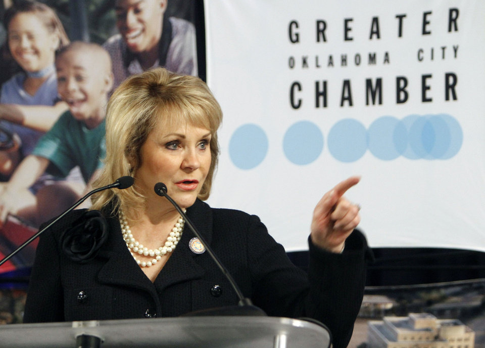 Gov. Mary Fallin speaks to the Greater Oklahoma City Chamber of Commerce Thursday during a breakfast at Oklahoma Christian University in Oklahoma City. Photo By Paul Hellstern, The Oklahoman <strong>PAUL HELLSTERN</strong>