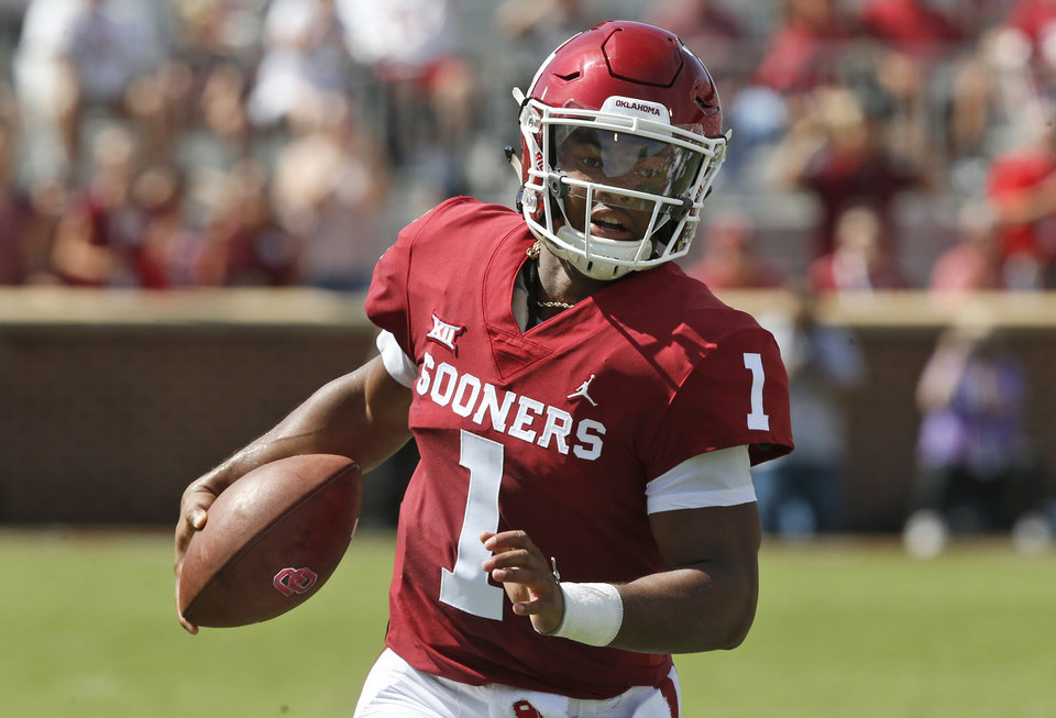 Photo - FILE - In this Sept. 1, 2018, file photo, Oklahoma quarterback Kyler Murray (1) carries the ball in the first half of an NCAA college football game against Florida Atlantic, in Norman, Okla. Murray is a possible pick in the 2019 NFL Draft. (AP Photo/Sue Ogrocki, File)