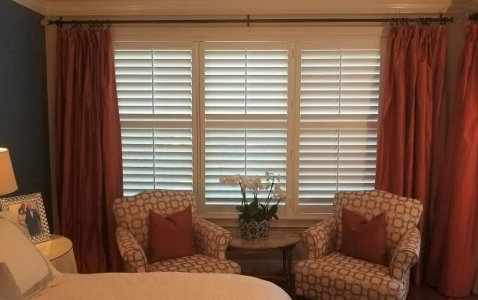 Photo -  Estate shutters are at home with almost every style of interior and in a every room of the house, including this master bedroom. [PHOTO PROVIDED/MARNI JAMESON]