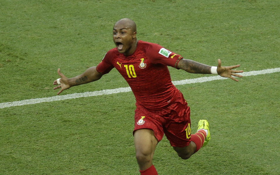 Photo - Ghana's Andre Ayew celebrates scoring his side's first goal during the group G World Cup soccer match between Germany and Ghana at the Arena Castelao in Fortaleza, Brazil, Saturday, June 21, 2014. (AP Photo/Themba Hadebe)