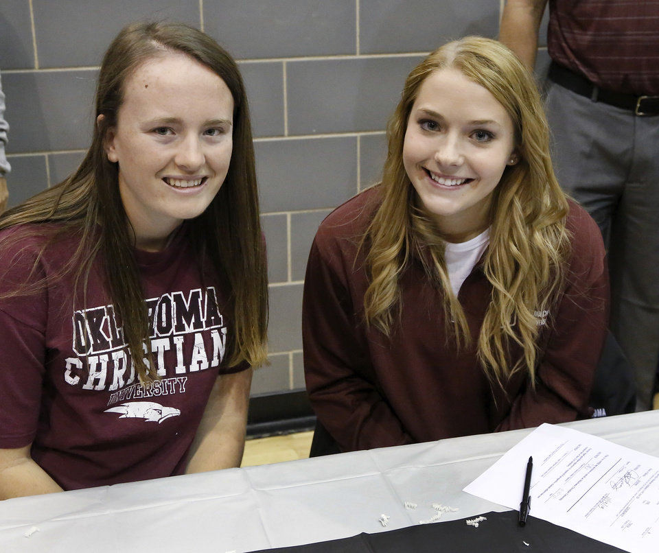 Madison Nordyke and Sheridan Bond signed with Oklahoma Christian University. Athletes from Edmond North High School signed national letters of intent with colleges and universities during a ceremony in the school\'s gymnasium Wednesday morning, Nov. 13, 2013. Various sports include golf, softball, wrestling, lacrosse and others. Photo by Jim Beckel, The Oklahoman