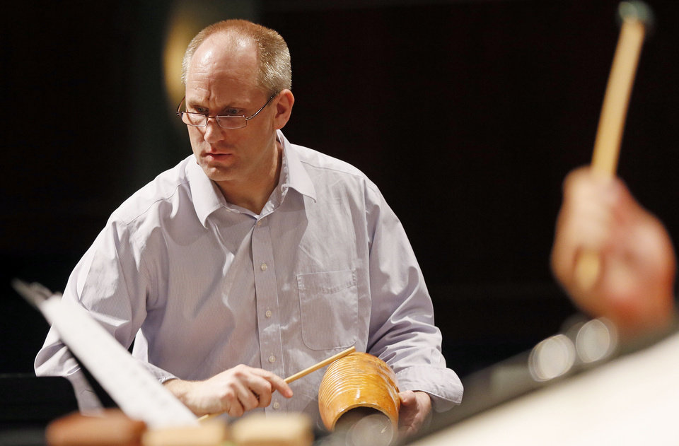 Principal percussionist David Steffens in rehearsal for the Oklahoma City Philharmonic's season finale.   Photo by Nate Billings, The Oklahoman <strong>NATE BILLINGS - NATE BILLINGS</strong>