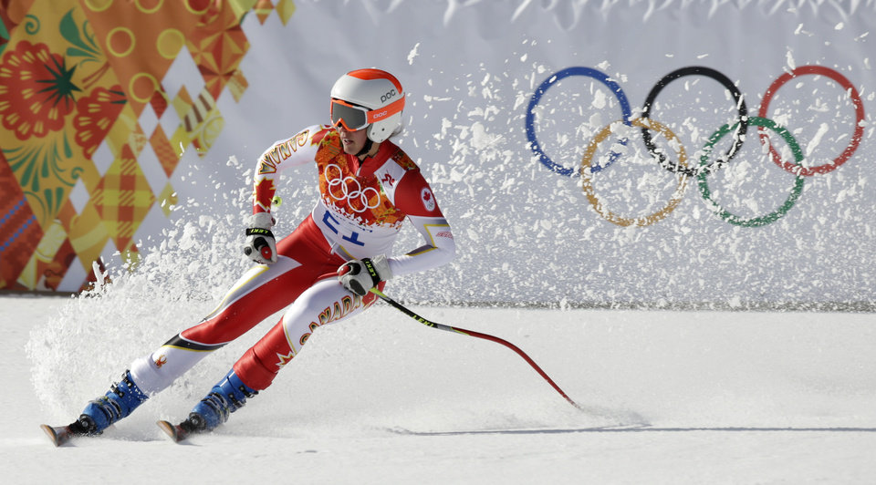 Photo - Canada's Marie-Michele Gagnon comes to a halt at the end of the downhill portion of the women's supercombined at the Sochi 2014 Winter Olympics, Monday, Feb. 10, 2014, in Krasnaya Polyana, Russia. (AP Photo/Gero Breloer)