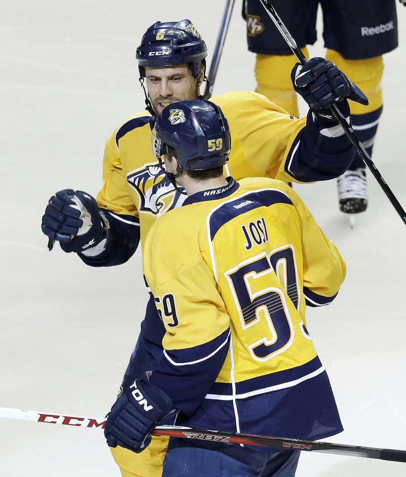 Nashville Predators defenseman Roman Josi (59), of Switzerland, is congratulated by Shea Weber (6) after Josi scored against the Dallas Stars in the second period of an NHL hockey game on Monday, Feb. 25, 2013, in Nashville, Tenn. (AP Photo/Mark Humphrey)