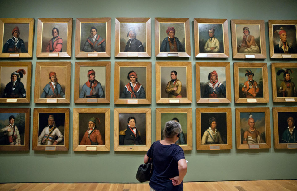 "Photo - Portraits of Native American Indian leaders commissioned between 1821 and 1828 painted by artist Henry Inman are displayed as part of the exhibition, ""Go West! Art of the American Frontier from the Buffalo Bill Center of the West,"" at the High Museum of Art, Thursday, Oct. 31, 2013, in Atlanta. Atlanta's High Museum of Art is hosting an exhibition of art and historic artifacts that explore the settlement of the American West and the evolving views of the land and people the earliest arrivals encountered. It includes more than 250 paintings, sculptures, photos, firearms and Native American artifacts. The works of art included in the exhibition cover a 100-year period from 1830 to 1930. (AP Photo/David Goldman)"