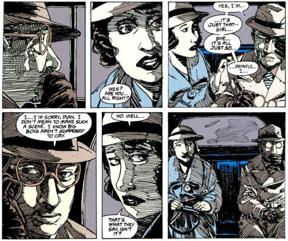 Photo - Wesley Dodds and Dian Belmont from 'Sandman Mystery Theatre.' [DC Comics]