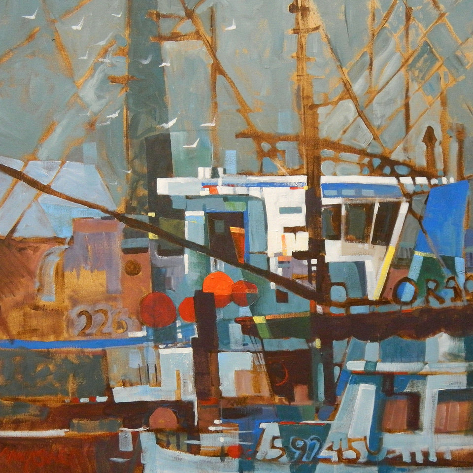 """Fishing Boats,"" an acrylic by Michael Jones   Photo provided <strong>Photo provided</strong>"