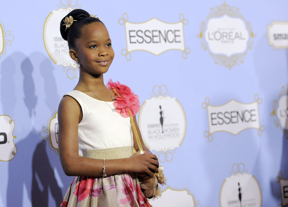 Actress and Academy Award nominee Quvenzhane Wallis, recipient of the Breakthrough Performance award, poses at the 6th Annual Black Women in Hollywood Luncheon at the Beverly Hills Hotel on Thursday, Feb. 21, 2013 in Los Angeles. (Photo by Chris Pizzello/Invision/AP)