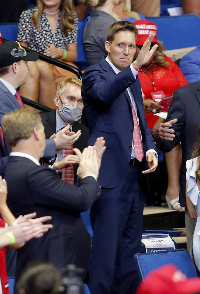 Photo - Lt. Governor Matt Pinnell waves to the crowd during a President Donald Trump rally at the BOK Center in Tulsa, Okla., Saturday, June 20, 2020. [Sarah Phipps/The Oklahoman]