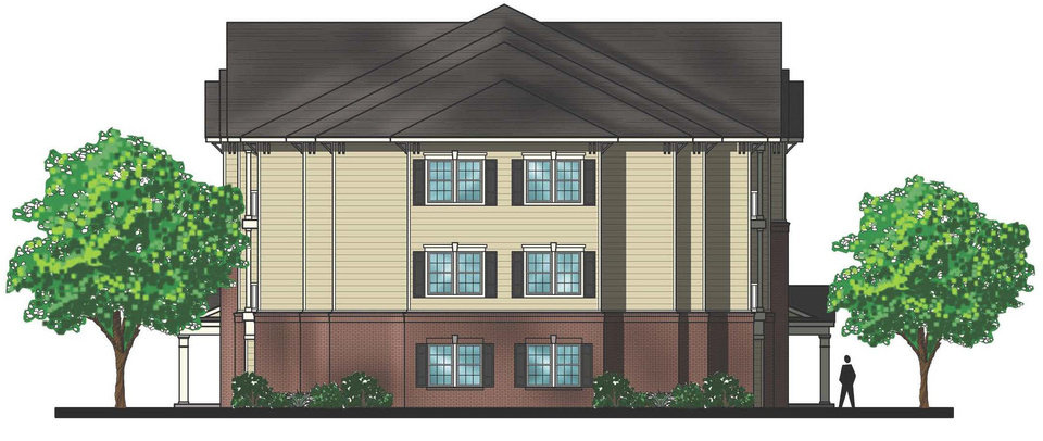 Photo - The architectural drawing by Tulsa-based Parker Associates Architects shows what will be a typical end of a building at Liberty Pointe Apartments.   - PROVIDED BY GARDNER TANENBAUM HO
