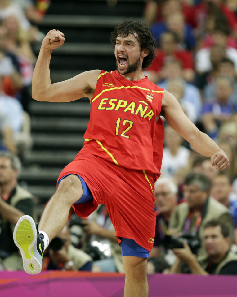 Spain's Sergio Llull reacts during the men's gold medal basketball game against USA at the 2012 Summer Olympics, Sunday, Aug. 12, 2012, in London. (AP Photo/Charles Krupa)