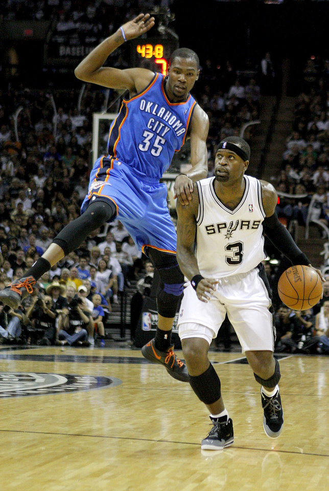 Oklahoma City's Kevin Durant (35) defends San Antonio's Stephen Jackson (3) during Game 1 of the Western Conference Finals between the Oklahoma City Thunder and the San Antonio Spurs in the NBA playoffs at the AT&T Center in San Antonio, Texas, Sunday, May 27, 2012. Oklahoma City lost 101-98. Photo by Bryan Terry, The Oklahoman