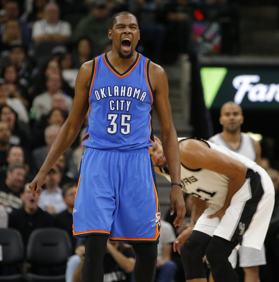 Photo - Oklahoma City's Kevin Durant must cut down on turnovers for the Thunder to have success against San Antonio. (Photo by Bryan Terry, The Oklahoman)