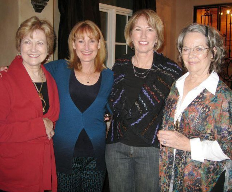 COUPLES\' SHOWER...Kathleen Marks, Michelle O\'Meara, Rita Mullins and Maggie Miller were at the party for Chelsea Allen and Wes Sims. (Photo by Helen Ford Wallace).
