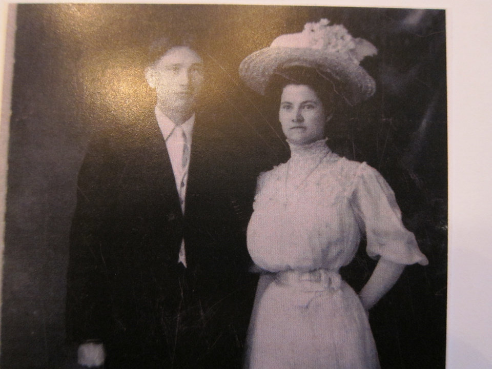 Photo -  Kathleen O'Meara Marks' grandparents Edwin Kanaly and Rose Hogan, whose families were members of St. John the Baptist Catholic Church, pose for a wedding photograph. The couple married at the Edmond church. Photo provided