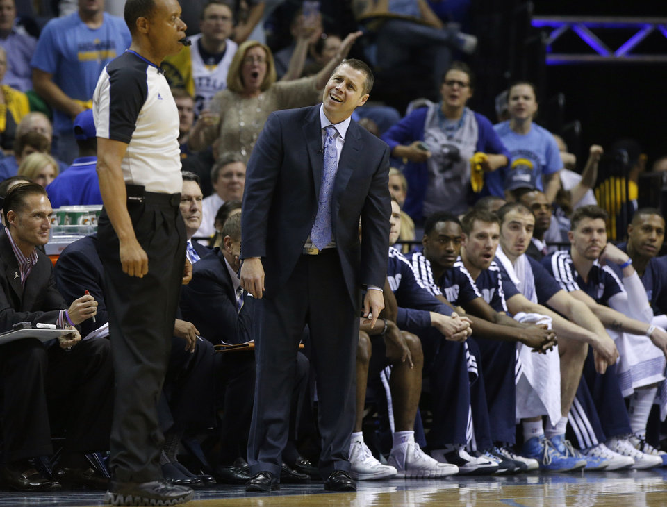 Memphis coach Dave Joerger reacts after a foul during Game 6  in the first round of the NBA playoffs between the Oklahoma City Thunder and the Memphis Grizzlies at FedExForum in Memphis, Tenn., Thursday, May 1, 2014. Oklahoma City won 104-84. Photo by Bryan Terry, The Oklahoman