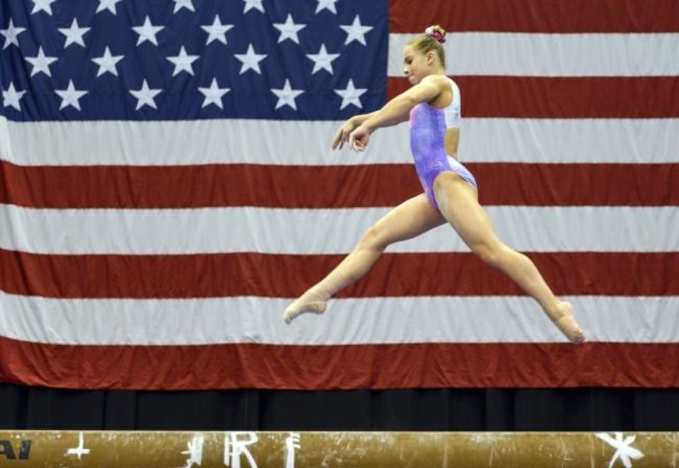 Photo -  OU freshman gymnast Ragan Smith competes at a national event July 27, 2018, in Columbus, Ohio. [Matt Lunsford/USA TODAY Sports]